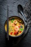 Close up da sopa de Tom Yum imagem de stock royalty free