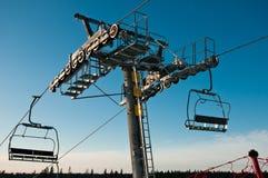 Close-up da sustentação do Ski-lift imagens de stock