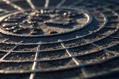 Close-up da tampa de câmara de visita do metal Fotos de Stock