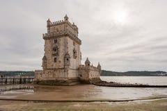 Close-up da torre de Belém na maré baixa Imagem de Stock Royalty Free