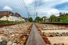 Close-up da trilha railway em França Imagem de Stock