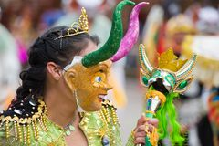 Close-up of a Dancer at Oruro Carnival in Bolivia Stock Photo