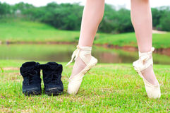 Close-up dancer's legs Royalty Free Stock Photography