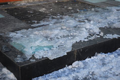Close up on  Danger Frozen Steps. Ice Covered Slippery Stair Cas Royalty Free Stock Images