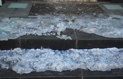Close up on Danger Frozen Stone Steps. stock photography