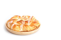 Close up Danish pastries on wooden dish  on white Royalty Free Stock Photos