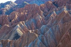 Danxia landform. The close-up of Danxia landform of Guide National Geopark in Qinghai, China royalty free stock photography