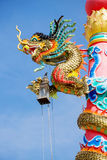 Close up dargon status. The Dragon status Chinese style with nice blue sky Stock Image