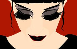 Close-up dark beautiful girl on a red background vector illustration