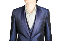 Close-up dark blue mens blazer wedding clothing, over white Stock Photo