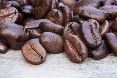 Close up of dark coffee beans Royalty Free Stock Photography