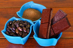 Close up of a dark dry cocoa bean, pieces of chocolate and powdered cocoa inside of a blue plastic bowl in a wooden Royalty Free Stock Image