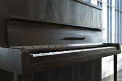 Close up of a dark wooden piano Stock Photos