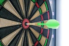 Close-up on dart pin on board bullseye Royalty Free Stock Photo