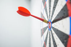 Close up of dartboard with dart arrows in center Royalty Free Stock Photography