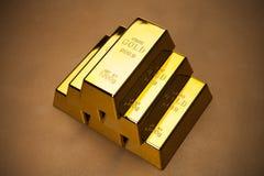Close up das barras de ouro fotografia de stock royalty free