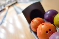 Close-up das bolas de boliches Foto de Stock Royalty Free