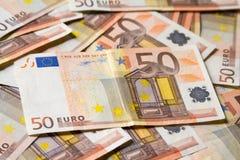 Close-up das 50 cédulas do Euro Fotos de Stock