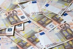 Close-up das 50 cédulas do Euro Foto de Stock