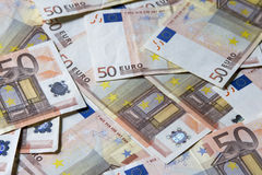 Close-up das 50 cédulas do Euro Imagens de Stock