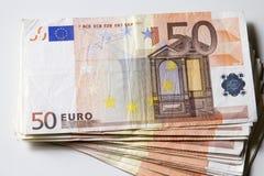 Close-up das 50 cédulas do Euro Foto de Stock Royalty Free