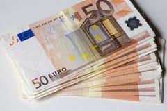 Close-up das 50 cédulas do Euro Imagem de Stock