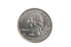 Close up das cabeças de um quarto da moeda de Estados Unidos Fotos de Stock