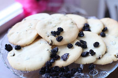Close-up das cookies com passas Fotos de Stock Royalty Free