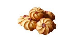 Close up das cookies em um isolamento branco do fundo imagens de stock