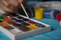 Close-up das escovas de pintura Imagem de Stock Royalty Free