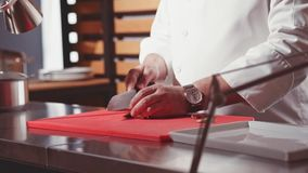 Close-up das mãos do cozinheiro chefe que cozinham e que preparam o alimento na cozinha aberta do restaurante Movimento lento Uma video estoque