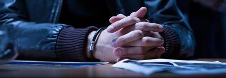 Close-up das mãos do suspeito Foto de Stock Royalty Free
