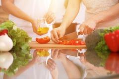 Close up das mãos humanas que cozinham na cozinha Mãe e filha ou dois amigos fêmeas que cortam vegetais para a salada fresca Fotos de Stock