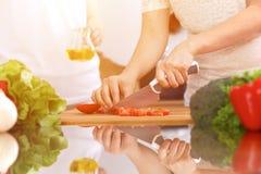Close up das mãos humanas que cozinham na cozinha Mãe e filha ou dois amigos fêmeas que cortam vegetais para a salada fresca Foto de Stock Royalty Free