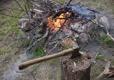 Close-up das madeiras da fogueira Fotos de Stock