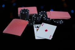 Close-up das microplaquetas e dos cartões Fotos de Stock Royalty Free