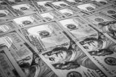 Close-up das notas de dólar Foto de Stock