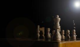 Close up das partes de xadrez na placa Fotos de Stock Royalty Free