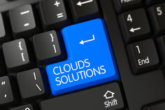 Close up das soluções das nuvens do teclado azul do teclado 3d Imagem de Stock