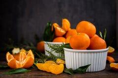Close up das tangerinas dos mandarino Fotos de Stock Royalty Free
