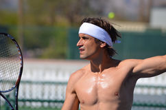 Close-Up of David Ferrer Shirtless at practice Royalty Free Stock Photography