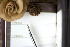 Close up the day on planner Royalty Free Stock Photography