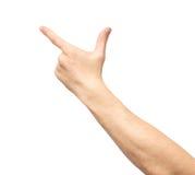 Close up de apontar masculino da mão isolado fotos de stock