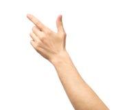 Close up de apontar masculino da mão isolado imagens de stock