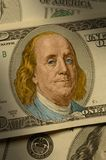 Close-up de Benjamin Franklin na conta $100 Fotografia de Stock