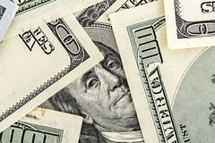 Close-up de Benjamin Franklin Portrait em cem dólares Bil Foto de Stock