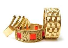 Close-up de braceletes dourados Foto de Stock Royalty Free