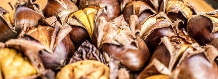 Close up de castanhas roasted Fotografia de Stock
