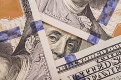 Close-up de cem contas Franklin Fotografia de Stock Royalty Free