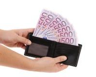 Close-up de cinco-centésimas euro- cédulas Fotografia de Stock Royalty Free